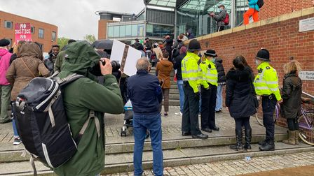 Police were monitoring the situation outside the Forum as a peaceful protest took place