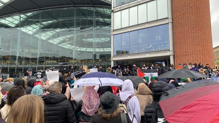 Protesters gathered outside the Forum in Norwich to voice their support for Palestine