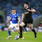 Brighton and Hove Albion's Leandro Trossard (left) and West Ham United's Declan Rice battle for the