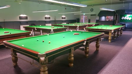 Snooker tables at the Jube, a club in Market Gates in Great Yarmouth.