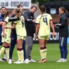 Arsenal manager Joe Montemurro congratulates his players at the end of the Vitality Women's FA Cup tie against Crystal Palace
