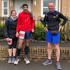 Amie and Tim Sibley, Rob Collier at Westcountry Flat 50