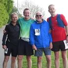 Mick Entwistle (second from left) with old Riverside Runners' team-mates Gary Barnes, Ray Willett and James Bolm.