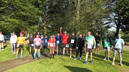 Riverside Runners turned out in force to celebrate Mick Entwistle's 100th official marathon