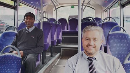 Uno Bus drivers Greg and 'K' are looking forward to welcoming passengers back on board