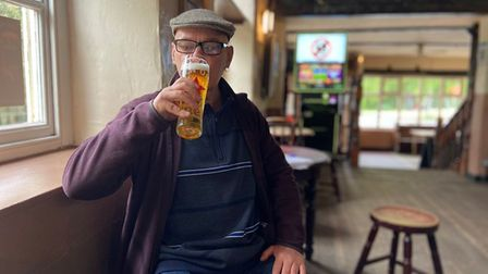 Dave Spoors enjoying his first pint back at The Mischief, which has reopened for the first time this year