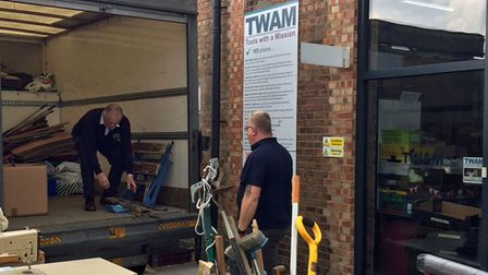 Rotary members delivering tools collected in Saffron Walden to the TWAM warehouse