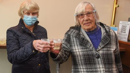 Trudy Jones and Susan Seaman at Palace Bingo in Great Yarmouth on it's first day open again. Picture: