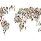 Crowd of people composing a world map, aerial view, global community, international communications a