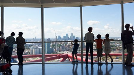 Visitors taking in the view from the top of the ArcelorMittal Orbit.