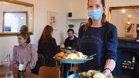 Owner Nicola Hay, happy to see people enjoying being back inside at Cafe 33 at Exchange Street. Pict