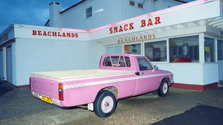 Hayling Island A cool pink truck sits outside a snack bar in this photograph taken in 1986
