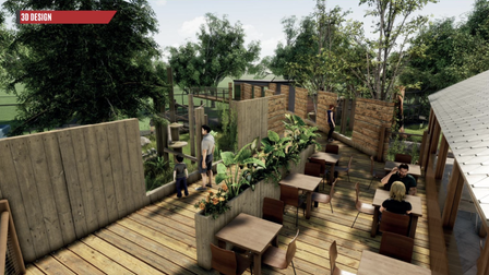 ACGI image of how Sun Bear Heights will look at Paradise Wildlife Park. The habitat will have atreetop walkway and café.
