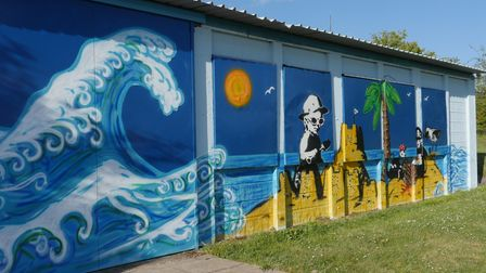Mark Hobbs painted this mural at Arlesey Blue Lagoon Clubhouse