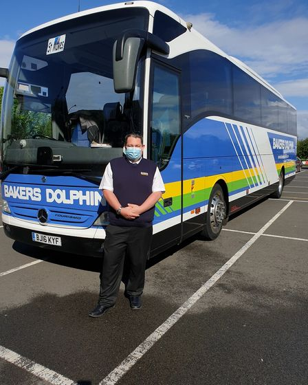Driver Simon Honey preparing to welcome travellers on Monday.