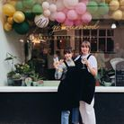 Neighbourhood Bakes' Amy and Helena outside of their new shop at 12 Bucklersbury, Hitchin