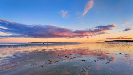A glorious sunset over West Hayling Beach onHayling Island in Hampshire. The Inn on the Beach.