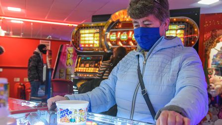 A member of the public enjoying the 2p pushers at Leisureland in Great Yarmouth. Picture: Danielle B