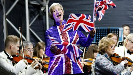 Battle Proms compere Pam Rhodes in one of her sparkly stage jackets