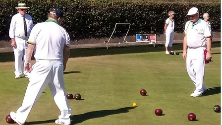 Mike Howe and Andy Wells with Fred Goodege as marker at Shire Park Bowls Club (Tewin)
