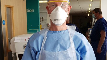 Stevenage Lister Hospital radiographer Matt Treherne in PPE