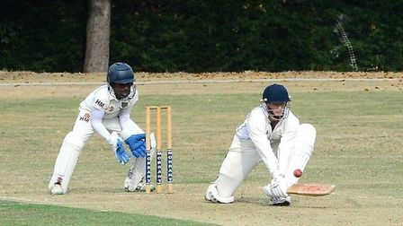 Woodford Wells Conor Caplan in batting action (Pic: Graham Hodges)