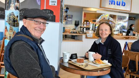Clive and Caryl Taylor enjoying a snack in the Hub
