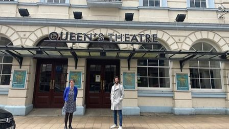 North Devon MP Selaine Saxby andDavid Hutchinson CEO ofSelladoor out side theQueen's Theatre in Barnstaple