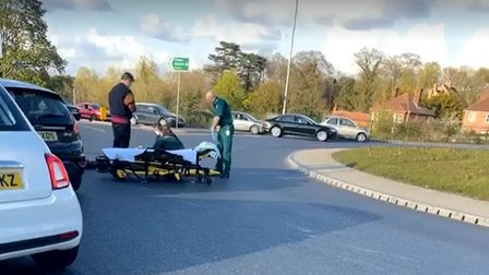 An ambulance and paramedics were called to the scene by someone who witnessed the incident