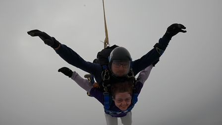 Ellen Caton took on the skydive for Beat.