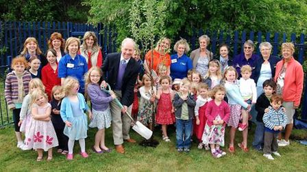 Pirton Pre-School children and staff with Lord Peter Lilley, then MP for Hitchin and Harpenden in May 2011.