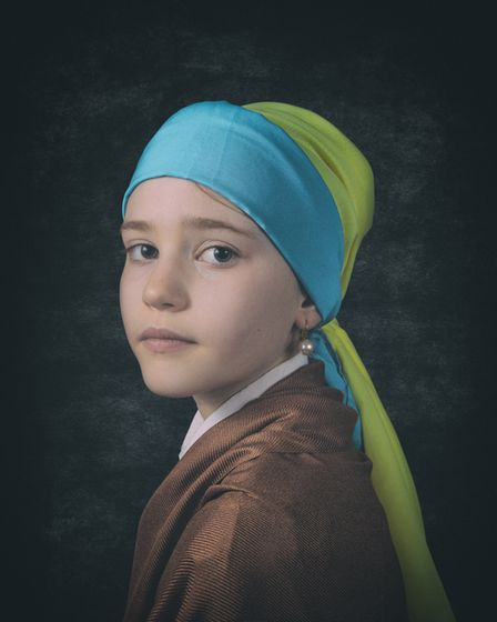 Andrew Colgan's winning photo of his daughter as the Girl with a Pearl Earring, for Royston Photography Society