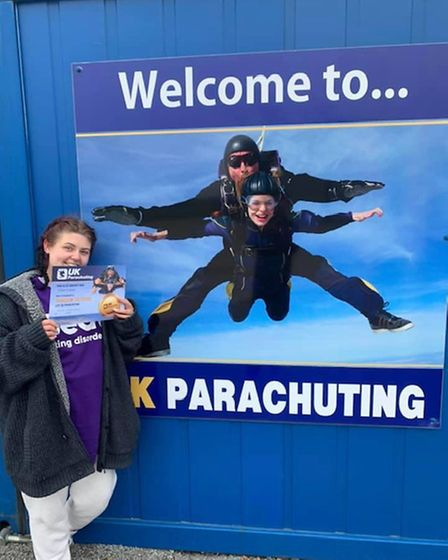 Ellen Caton completed a skydive at the weekend to raise money for Beat.