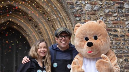 Bob Golding, Stacey Turner and the It's OK To Say mascot bear.