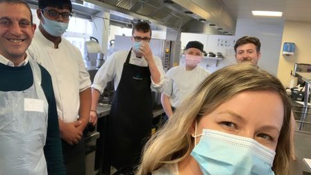 Stacey Turner with hospitality students from Oaklands College.