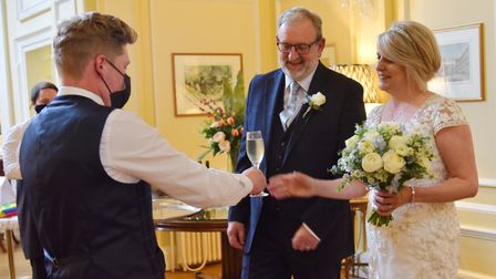 Lisa Neat and Nigel Wilson celebrate becoming one of the first couples in Norwich to get married at the Assembly House.