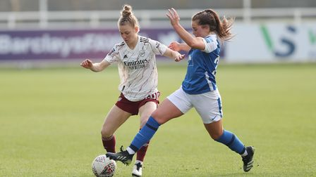 Arsenal's Leonie Maier is challenged by Birmingham's Jamie-Lee Napier during the FA Women's Super Le