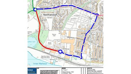 The closure and diversion route as Suffolk Highways will temporarily close the A1117 Peto Way in Lowestoft.