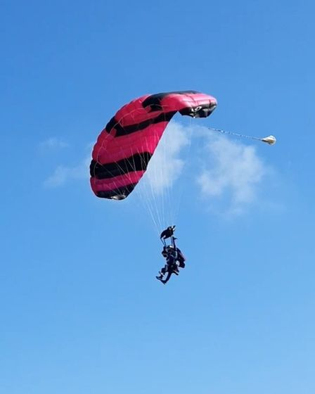 Alexander Pierrefrom Essex taking part in a tandem parachute jump for the charity BEAT