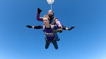 Alexander Pierre of Essex taking part in a tandem parachute jump for the charity BEAT