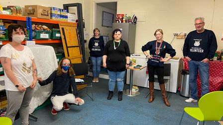 Charlotte, Danielle, volunteer Claire Smith, Louise, volunteer Simmone Taylor and Trevor Saunders at Mandalay Wellbeing CIC.