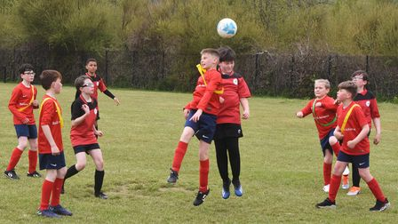 Action from the North Suffolk Schools ALT Year 6 Boys Football Championships.Grove vs Red Oak.