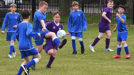 Action from the North Suffolk Schools ALT Year 6 Boys Football Championships. Westwood vs Reydon.