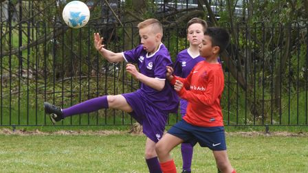 Action from the North Suffolk Schools ALT Year 6 Boys Football Championships. Westwood vs Red Oak