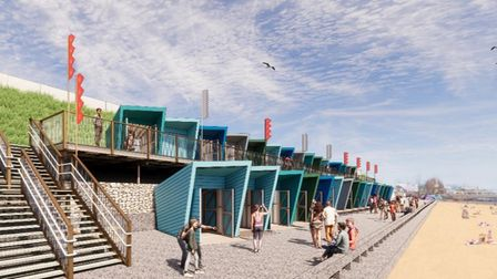 A CGI visualisation of the new Lowestoft Jubilee Promenade beach huts
