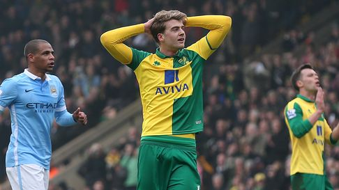 Patrick Bamford of Norwich rues a missed chance during the Barclays Premier League match at Carrow R