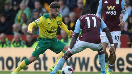 Patrick Roberts of Norwich and Marvelous Nakamba of Aston Villa in action during the Premier League