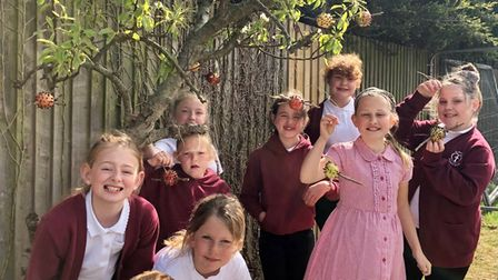 Youngsters have made bird feeders in launch of their school's new wellbeing and community club.