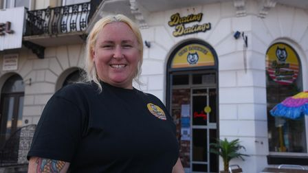 Caroline Graham, owner of Darling Darlings Cat Cafe on Marine Parade in Great Yarmouth. Picture: Dan