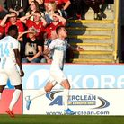 Rijeka's Stjepan Loncar (right) celebrates scoring his side's first goal of the game during the UEFA